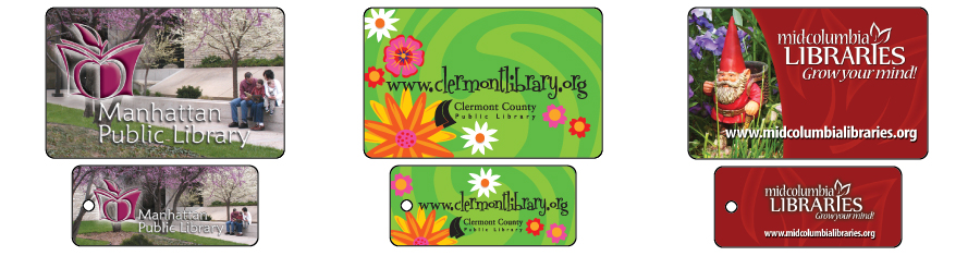 Samples of library loyalty card key tag, 3 different design
